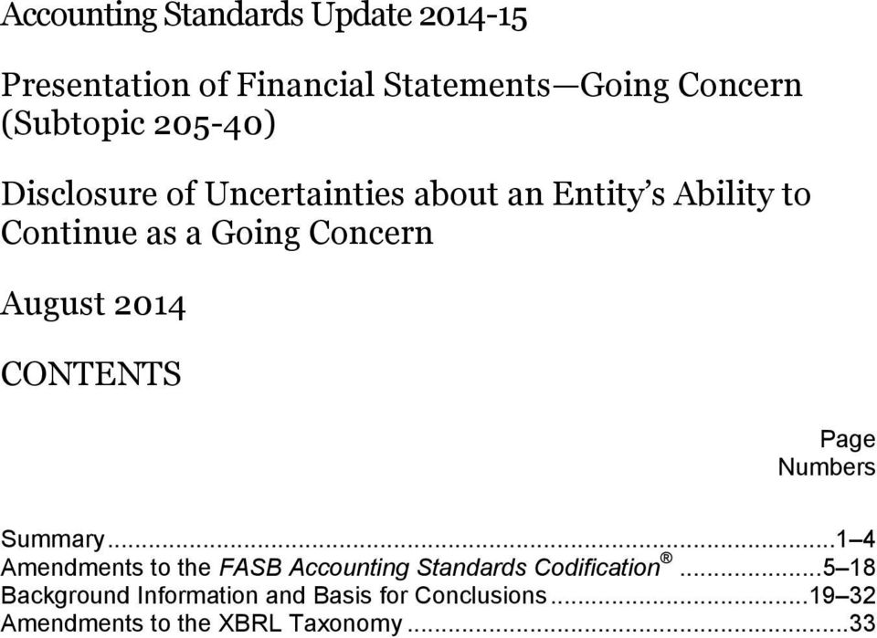 2014 CONTENTS Page Numbers Summary... 1 4 Amendments to the FASB Accounting Standards Codification.
