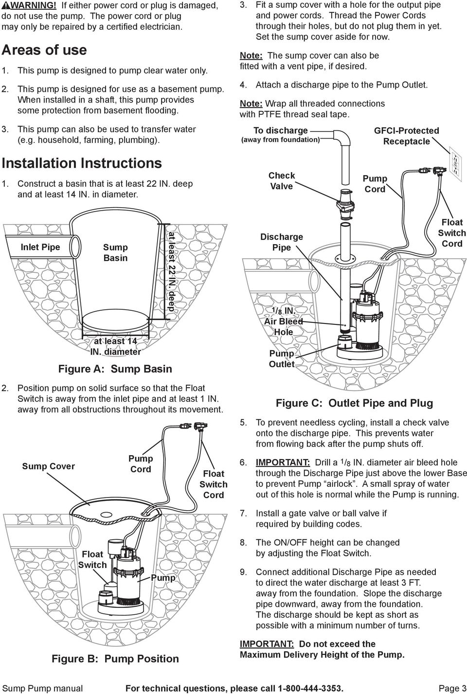 This pump can also be used to transfer water (e.g. household, farming, plumbing). Installation Instructions 1. Construct a basin that is at least 22 IN. deep and at least 14 IN. in diameter. 3.