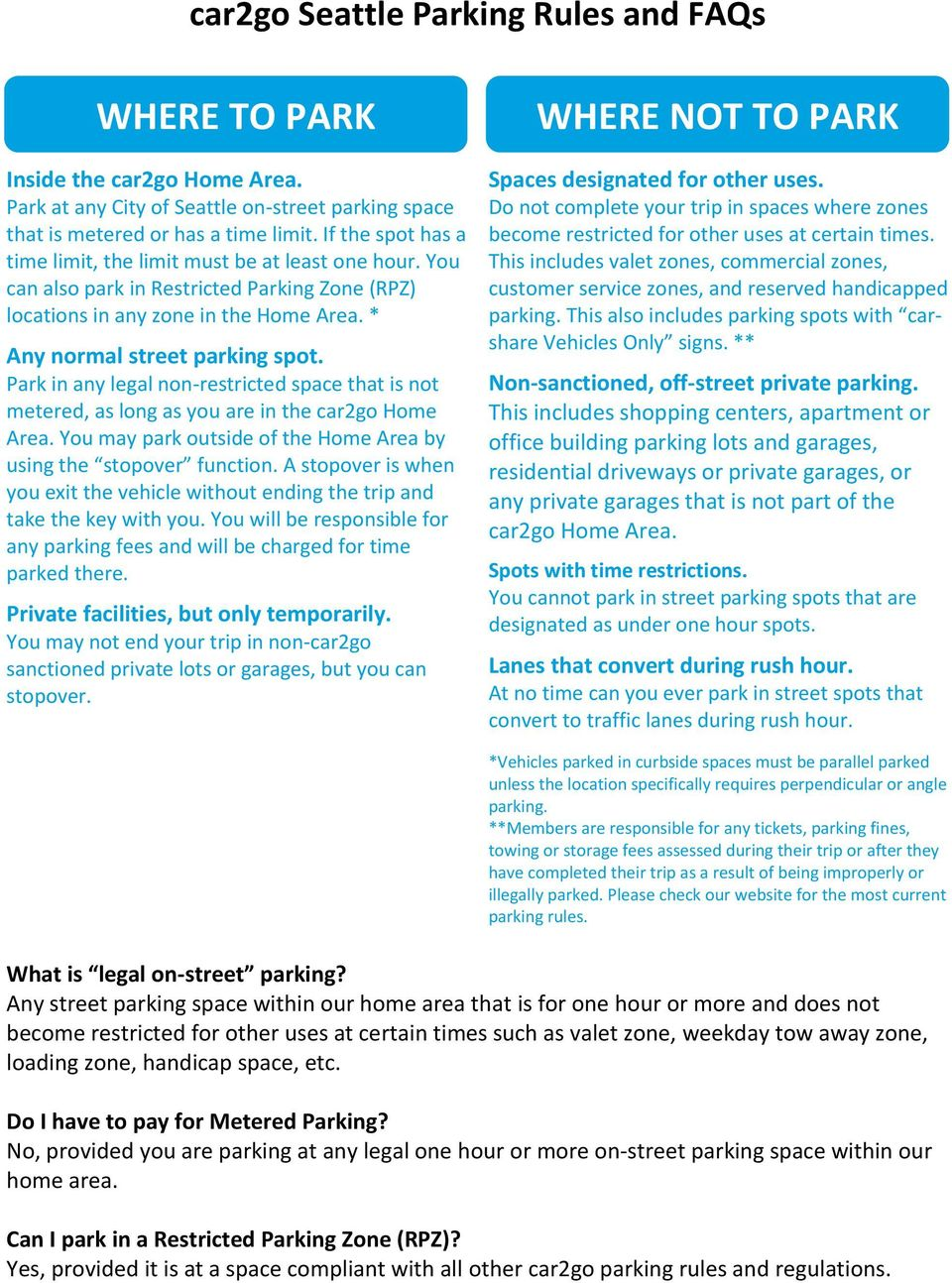 Car2go Seattle Parking Rules And Faqs Pdf