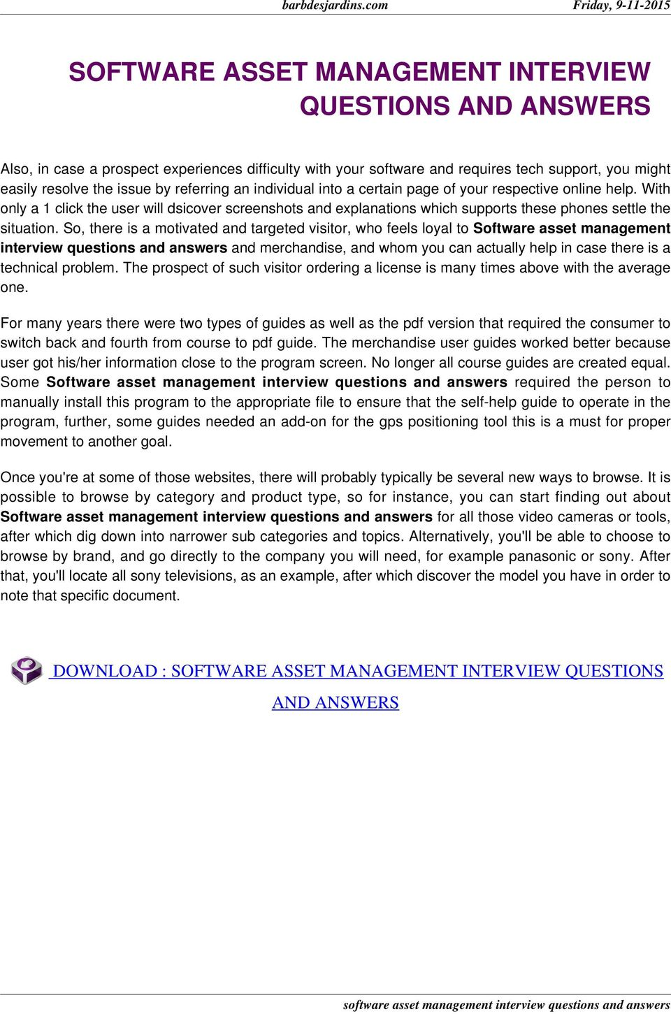 Software asset management interview questions and answers pdf so there is a motivated and targeted visitor who feels loyal to software asset fandeluxe Image collections