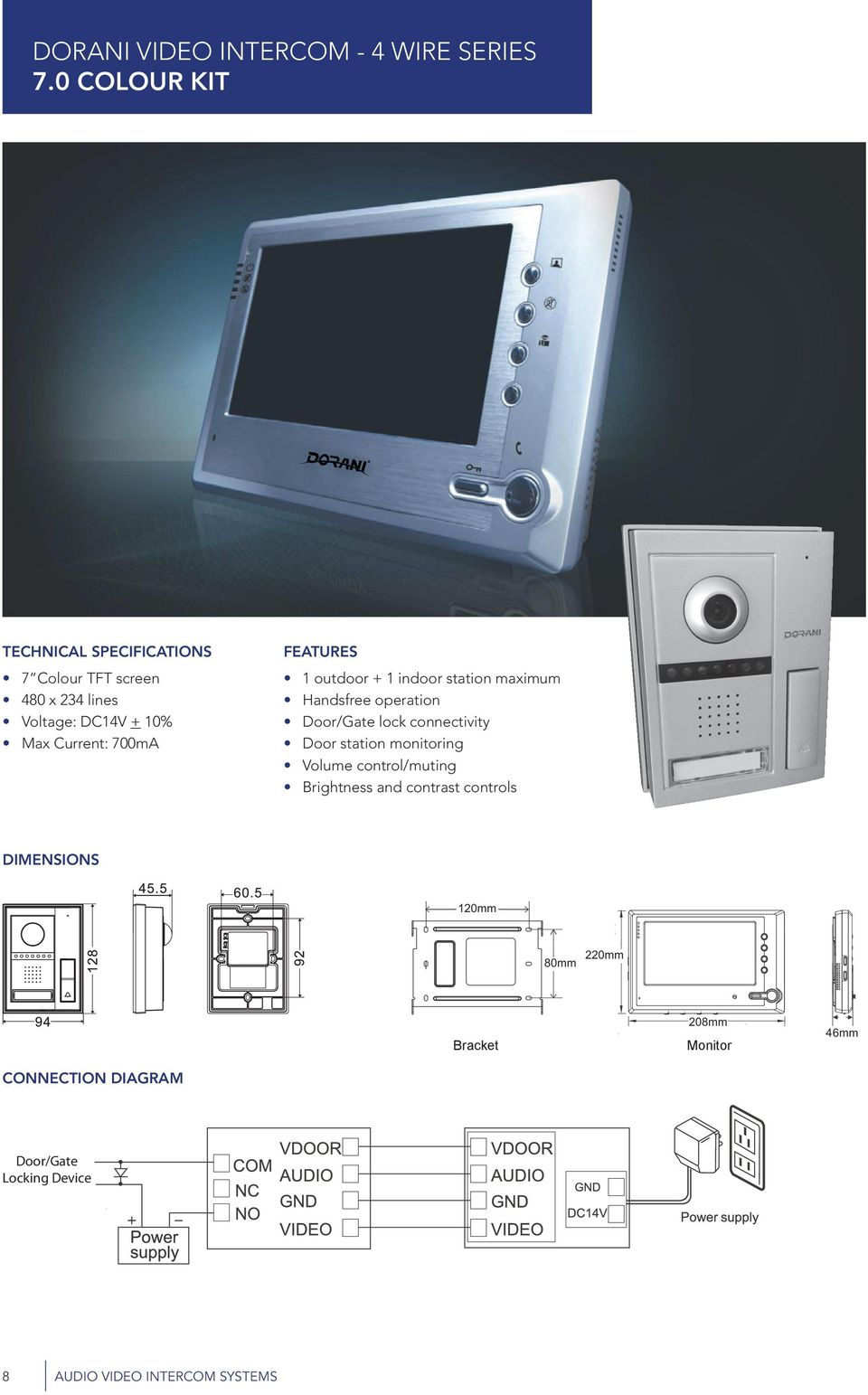 Audio Video Intercom Systems Security Safety At Your Finger Tips Fullduplex Pcb For Office And House Electronic Design 700ma Features 1 Outdoor Indoor Station Maximum Handsfree Operation Door Gate Lock Connectivity