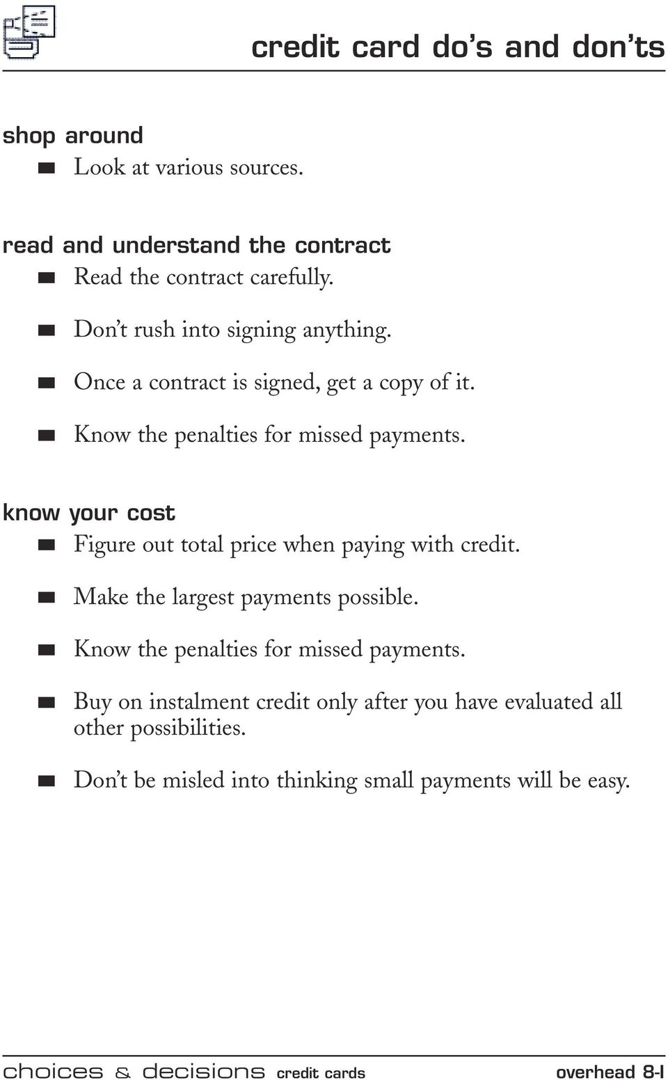 Lesson Eight Credit Cards Overheads Pdf