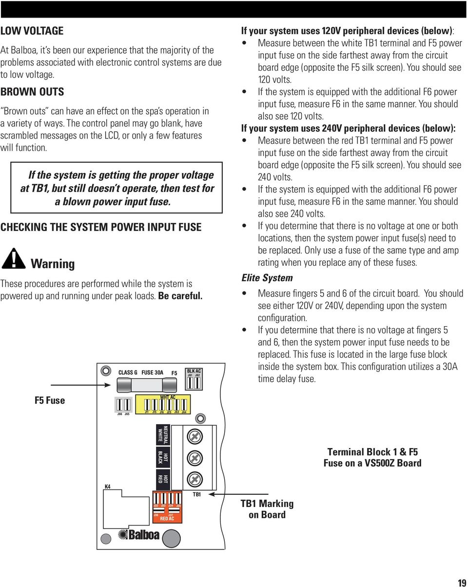 Troubleshooting & Service for EL/VS Systems. 60 Hz - PDF on balboa control diagram, balboa control panel, spa diagram, balboa heater, balboa schematic,
