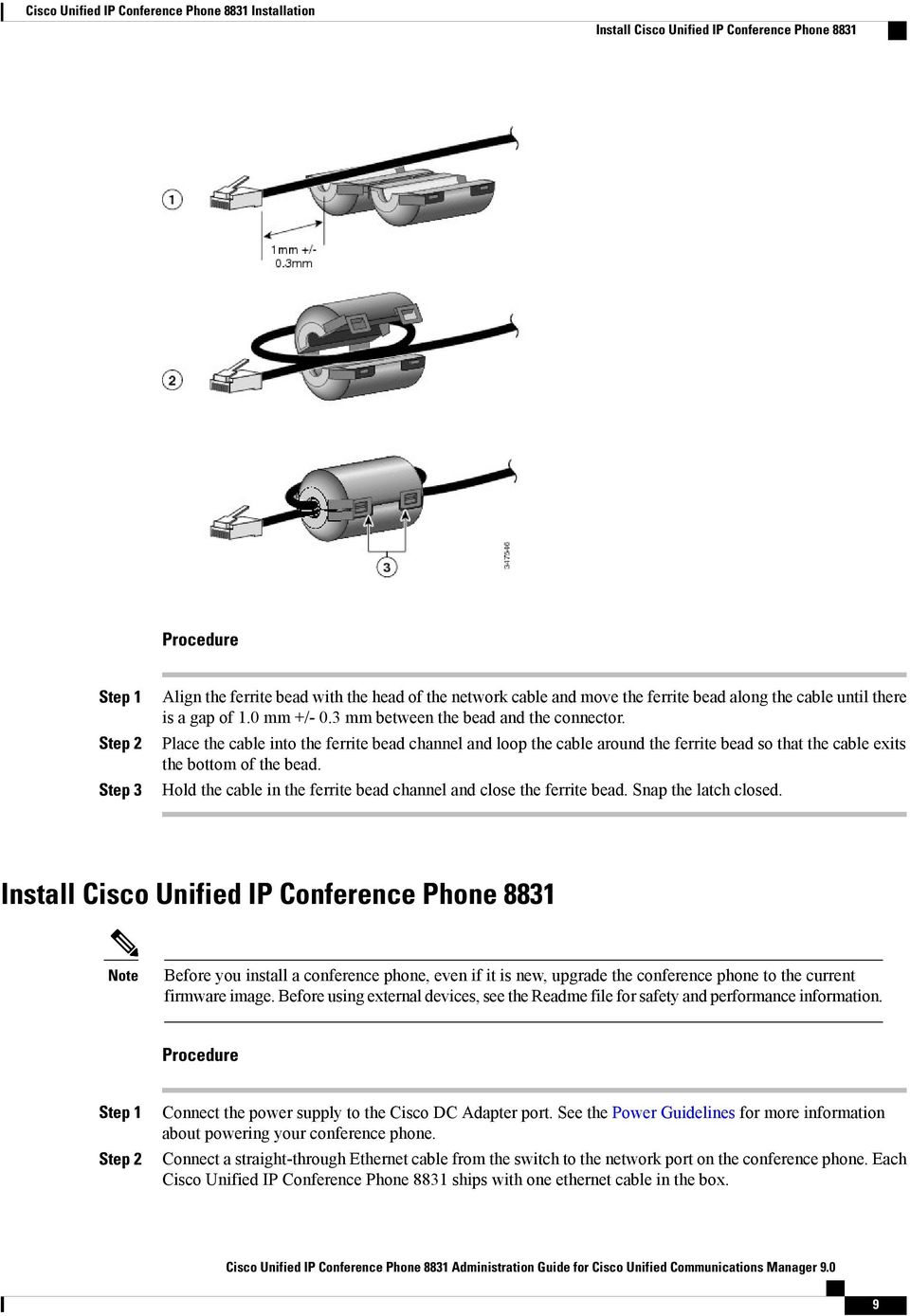 Cisco Unified Ip Conference Phone 8831 Installation Pdf Straight Through Network Cable Wiring Place The Into Ferrite Bead Channel And Loop Around