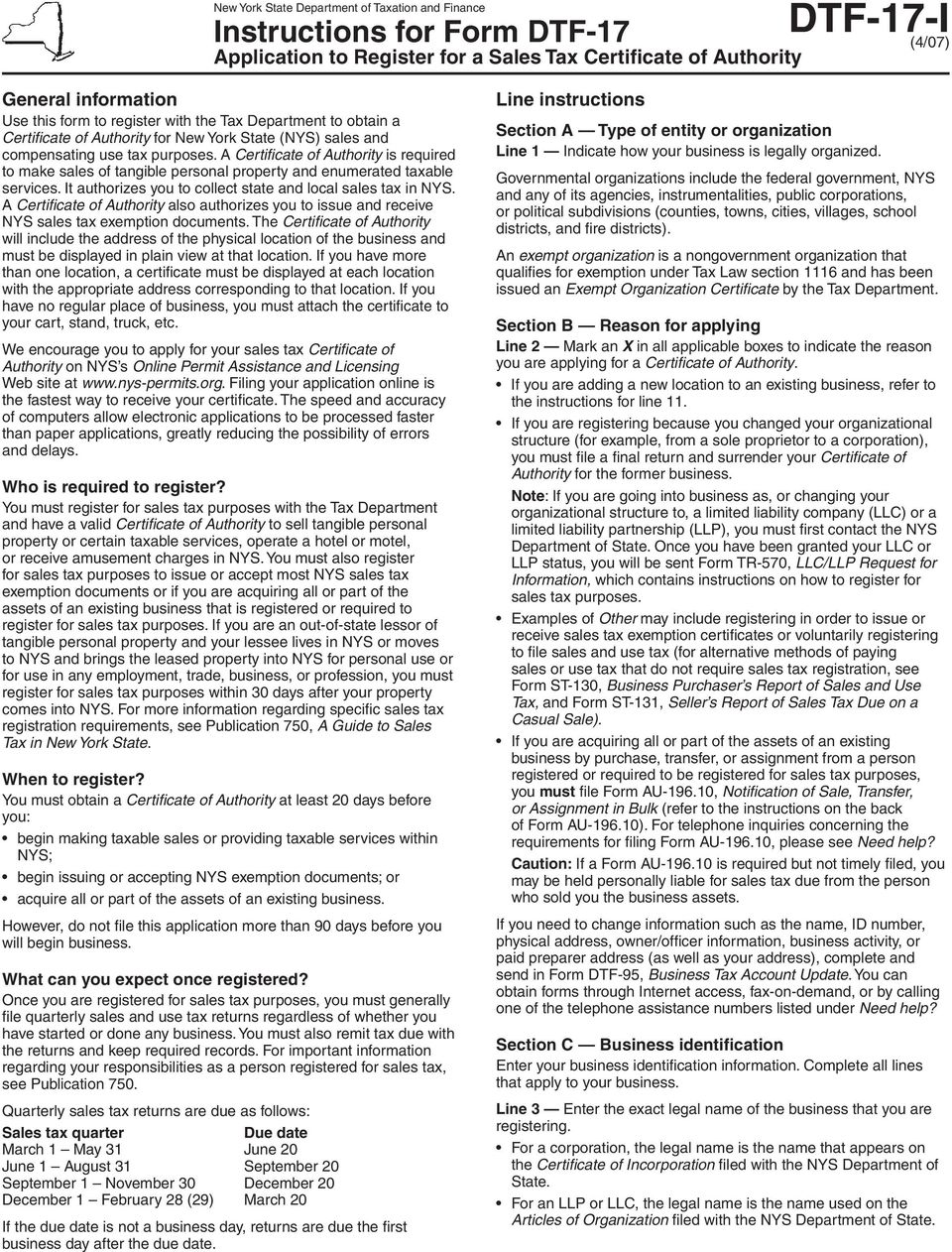 New York State Department Of Taxation And Finance Application To