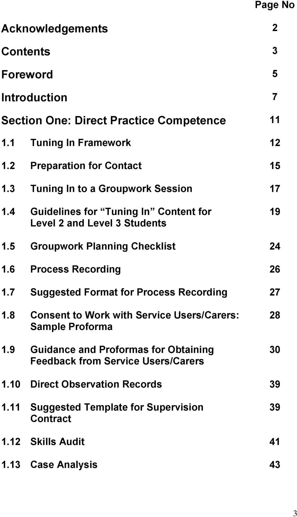 5 Groupwork Planning Checklist 24 16 Process Recording 26 17 Suggested Format For 27