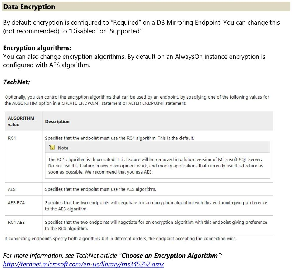 encryption algorithms. By default on an AlwaysOn instance encryption is configured with AES algorithm.