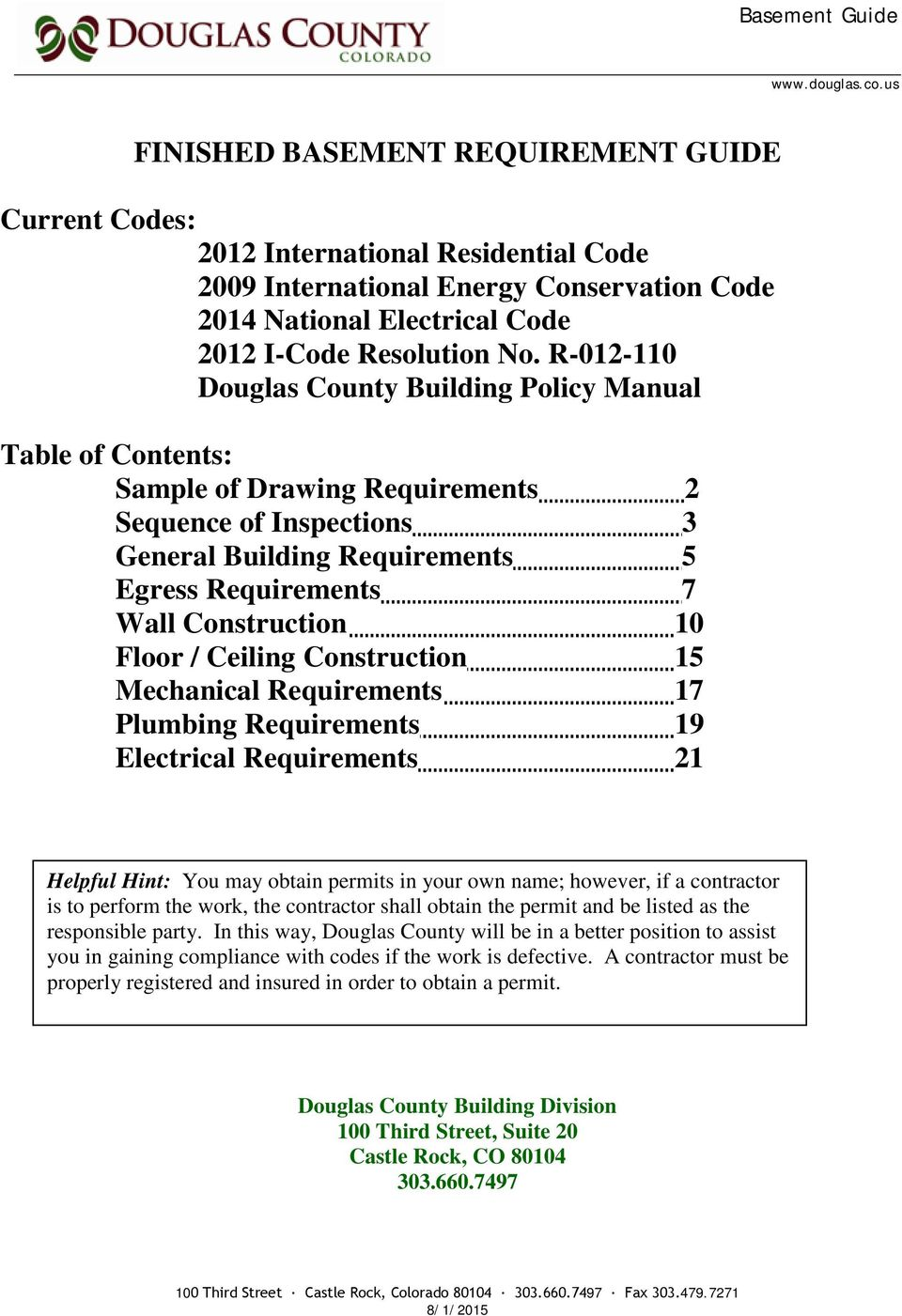 Finished Basement Requirement Guide Pdf Wiring Code For Unfinished R 012 110 Douglas County Building Policy Manual Table Of Contents Sample