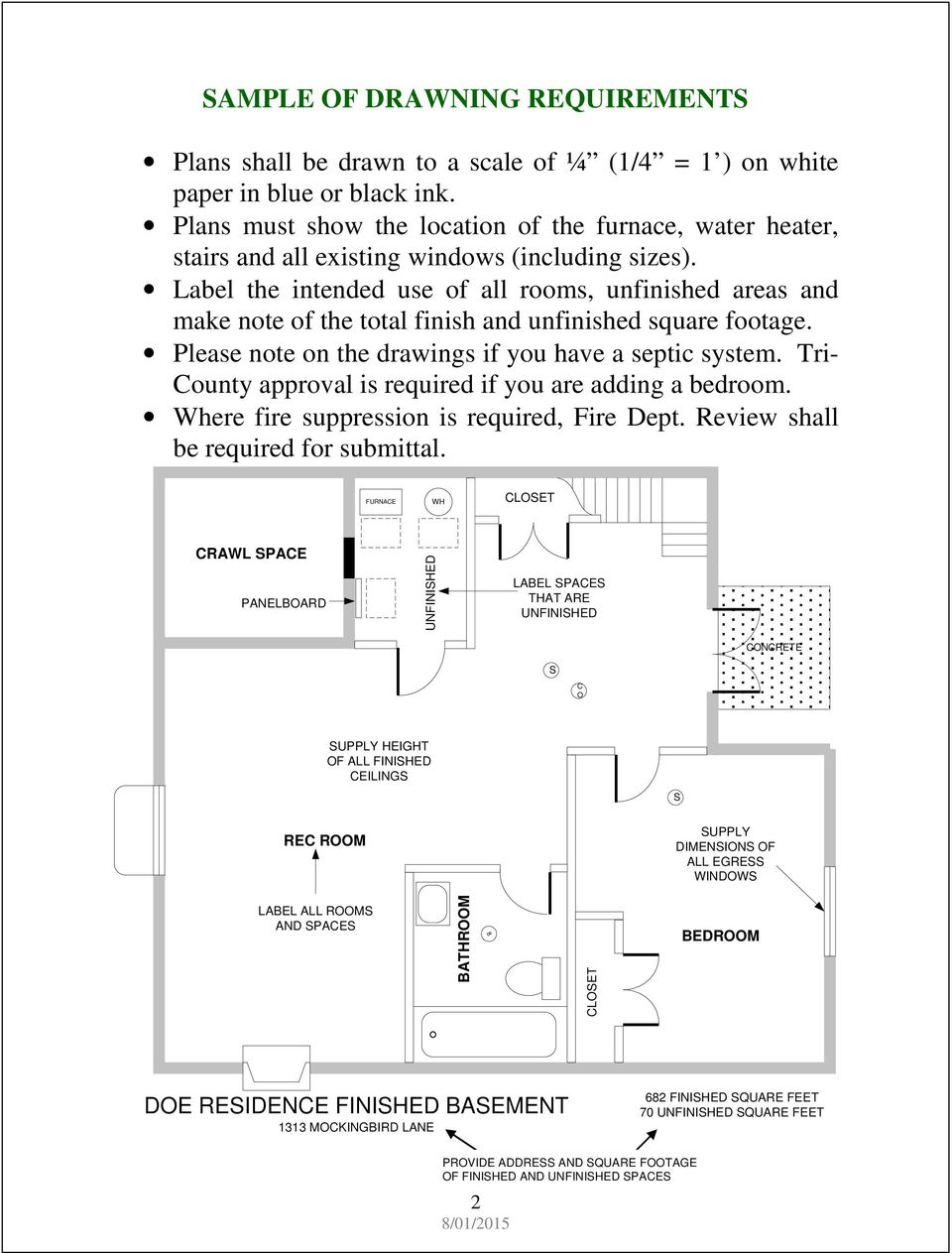 Finished Basement Requirement Guide Pdf Wiring A To Code In Ontario Label The Intended Use Of All Rooms Unfinished Areas And Make Note Total