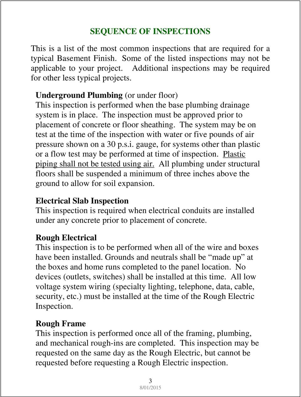 Finished Basement Requirement Guide Pdf Wiring Circuits The Inspection Must Be Approved Prior To Placement Of Concrete Or Floor Sheathing System