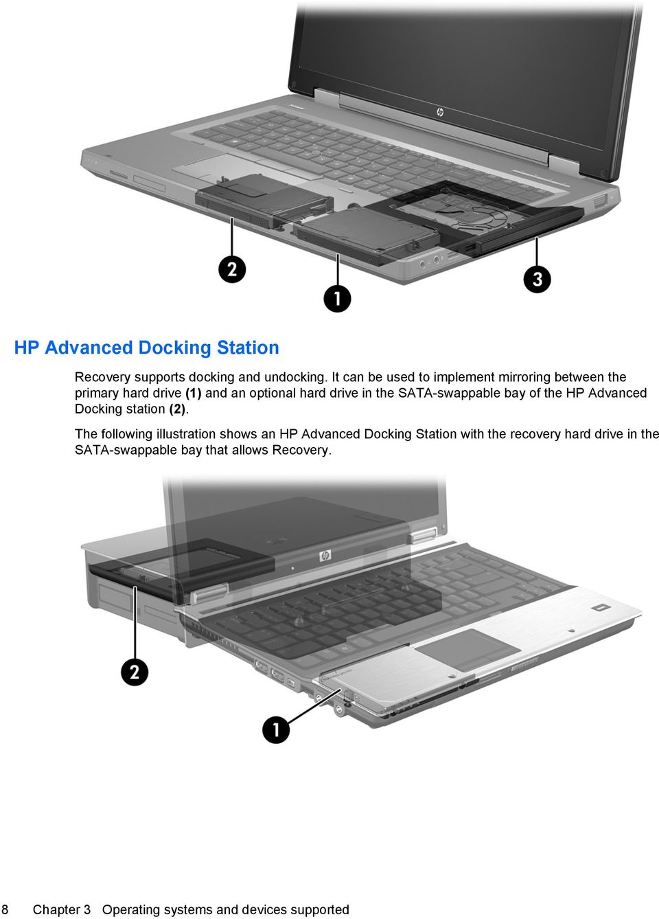 SATA-swappable bay of the HP Advanced Docking station (2).