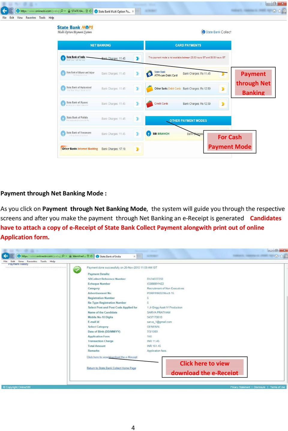 METHOD FOR PAYMENT OF APPLICATION FEES THROUGH SBI e-collect AND ...