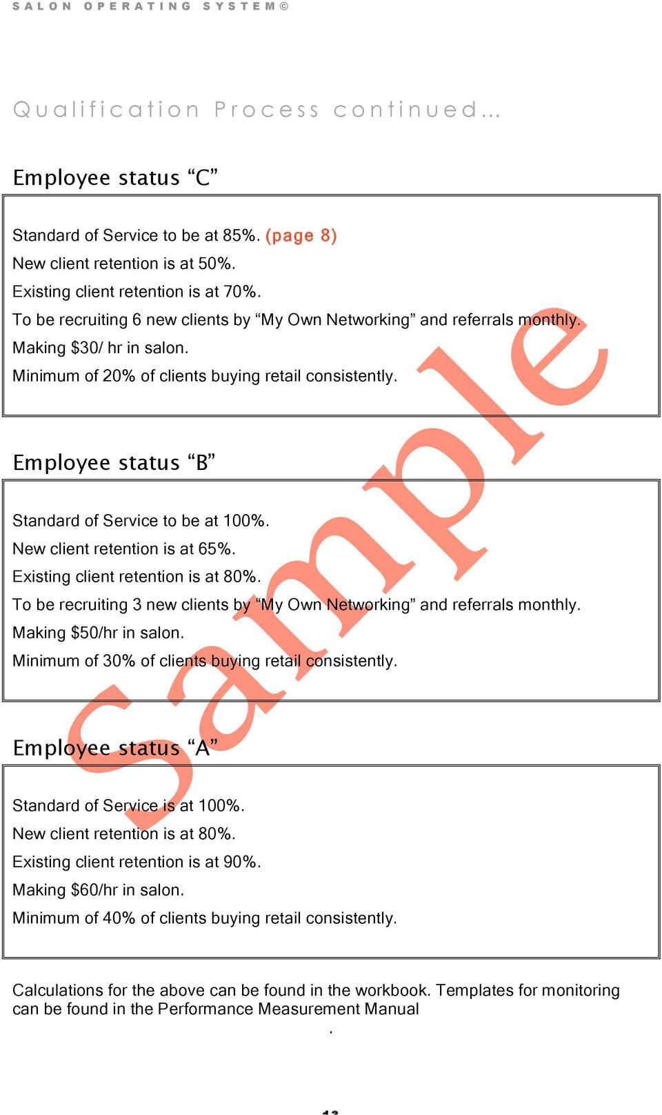 Employee status B Standard of Service to be at 100%. New client retention is