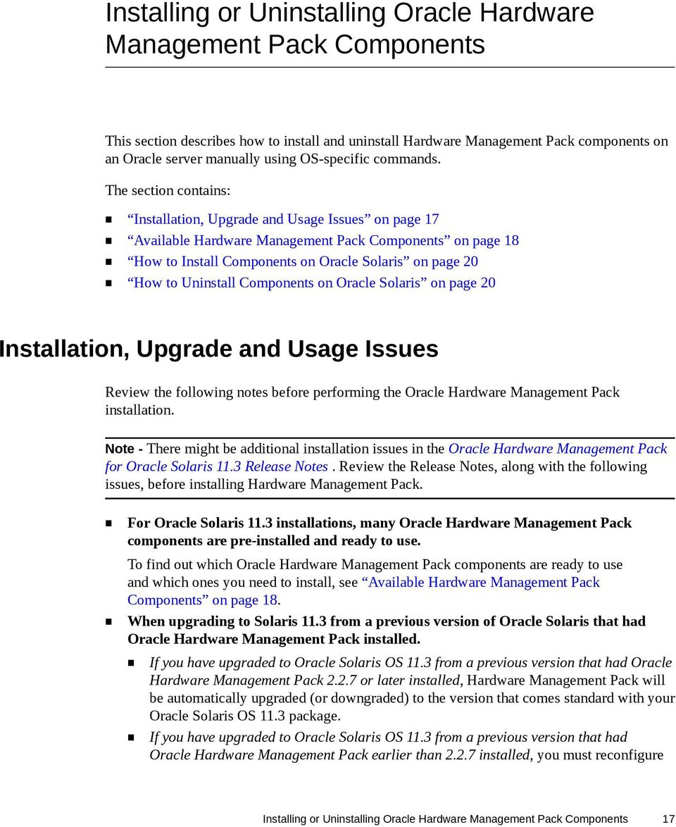 Oracle Hardware Management Pack for Oracle Solaris 11 3 Installation