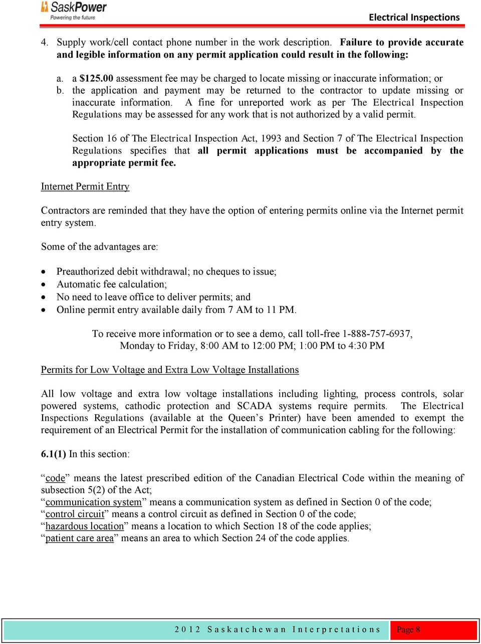 Saskatchewan Interpretations Pdf Of A Low Voltage Lighting System Explained By An Ontario Electrician Fine For Unreported Work As Per The Electrical Inspection Regulations May Be Assessed Any