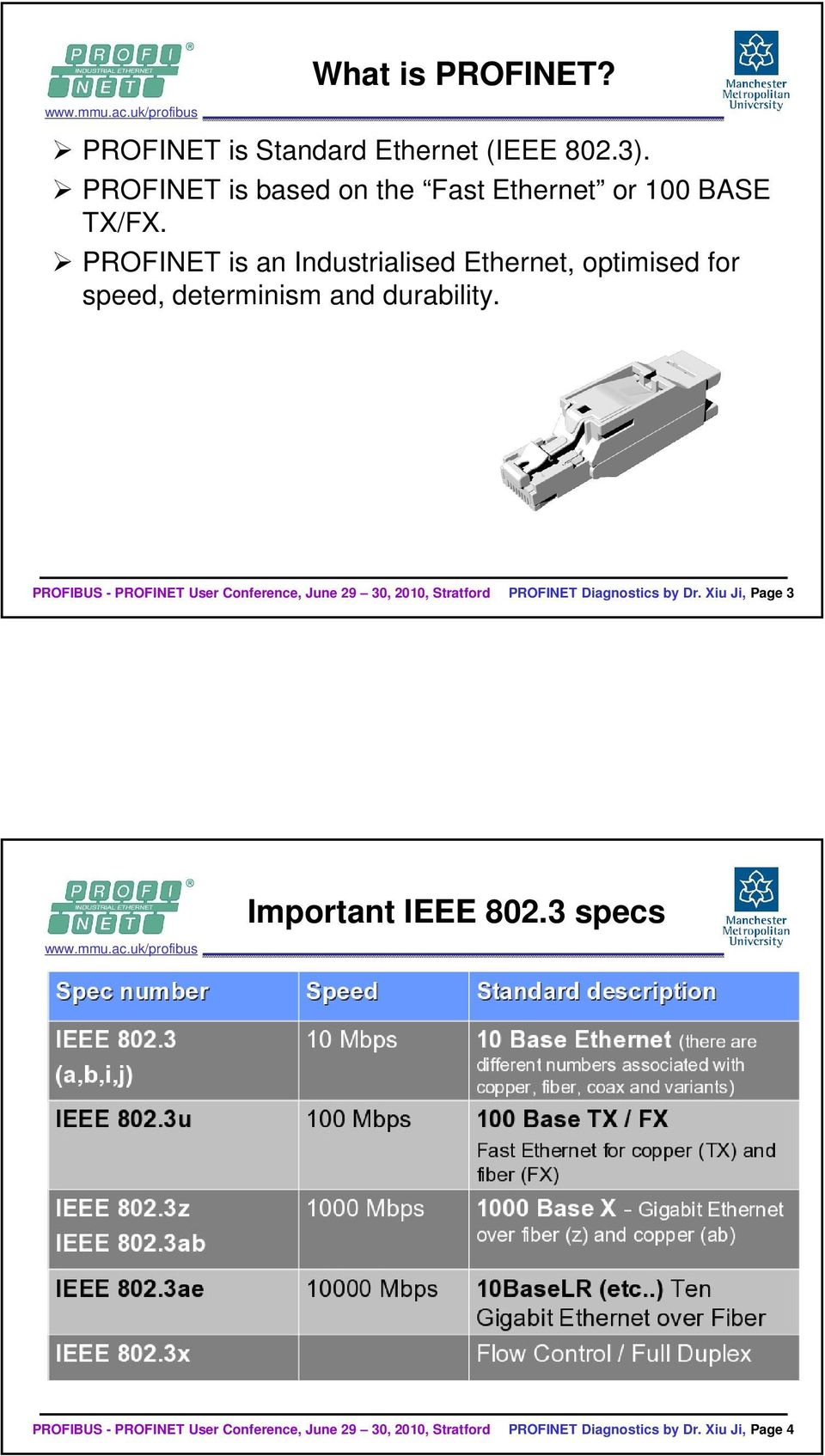 PROFINET is an Industrialised Ethernet, optimised for speed, determinism and durability.