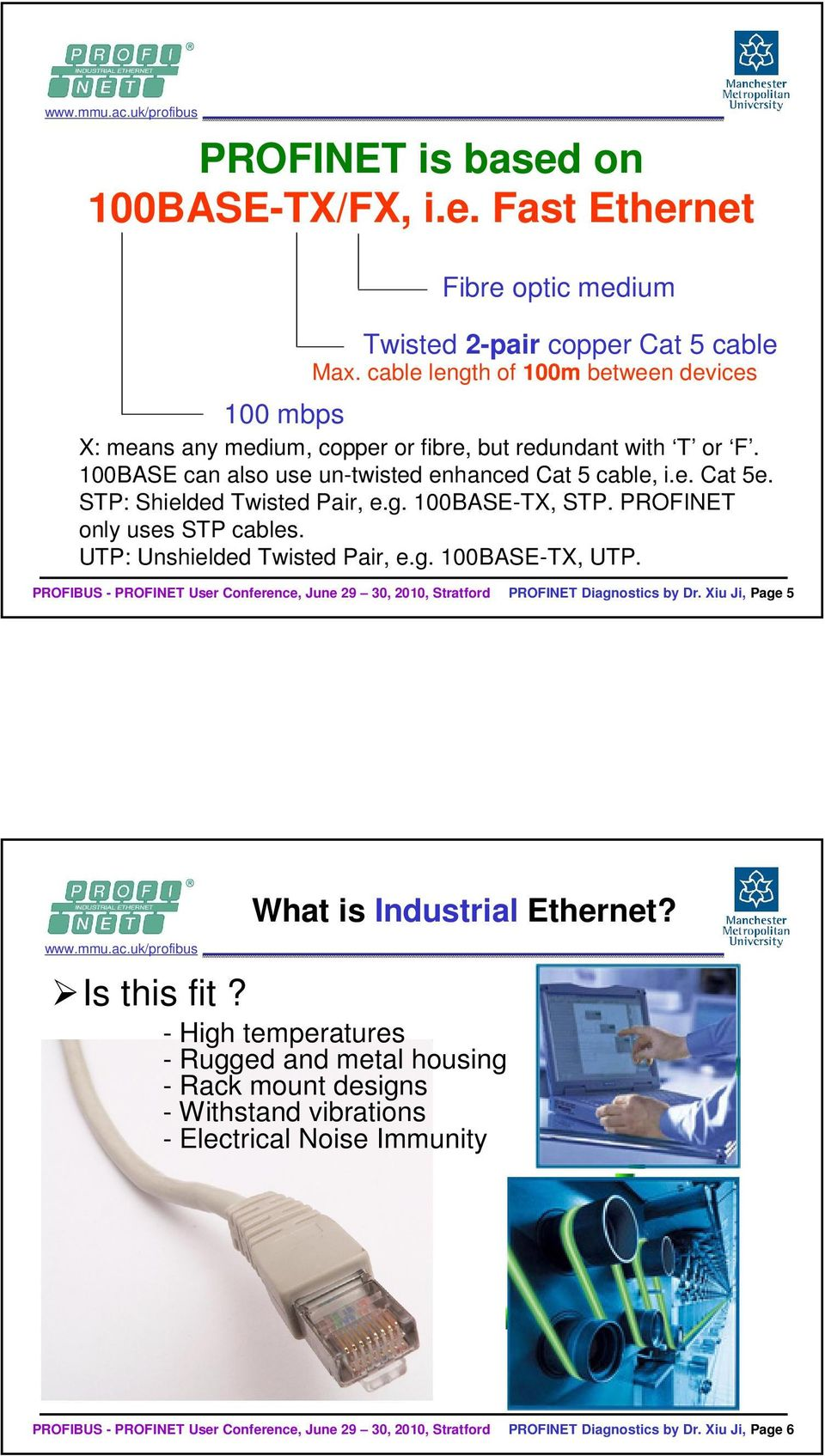 e. Cat 5e. STP: Shielded Twisted Pair, e.g. 100BASE-TX, STP. PROFINET only uses STP cables. UTP: Unshielded Twisted Pair, e.g. 100BASE-TX, UTP.