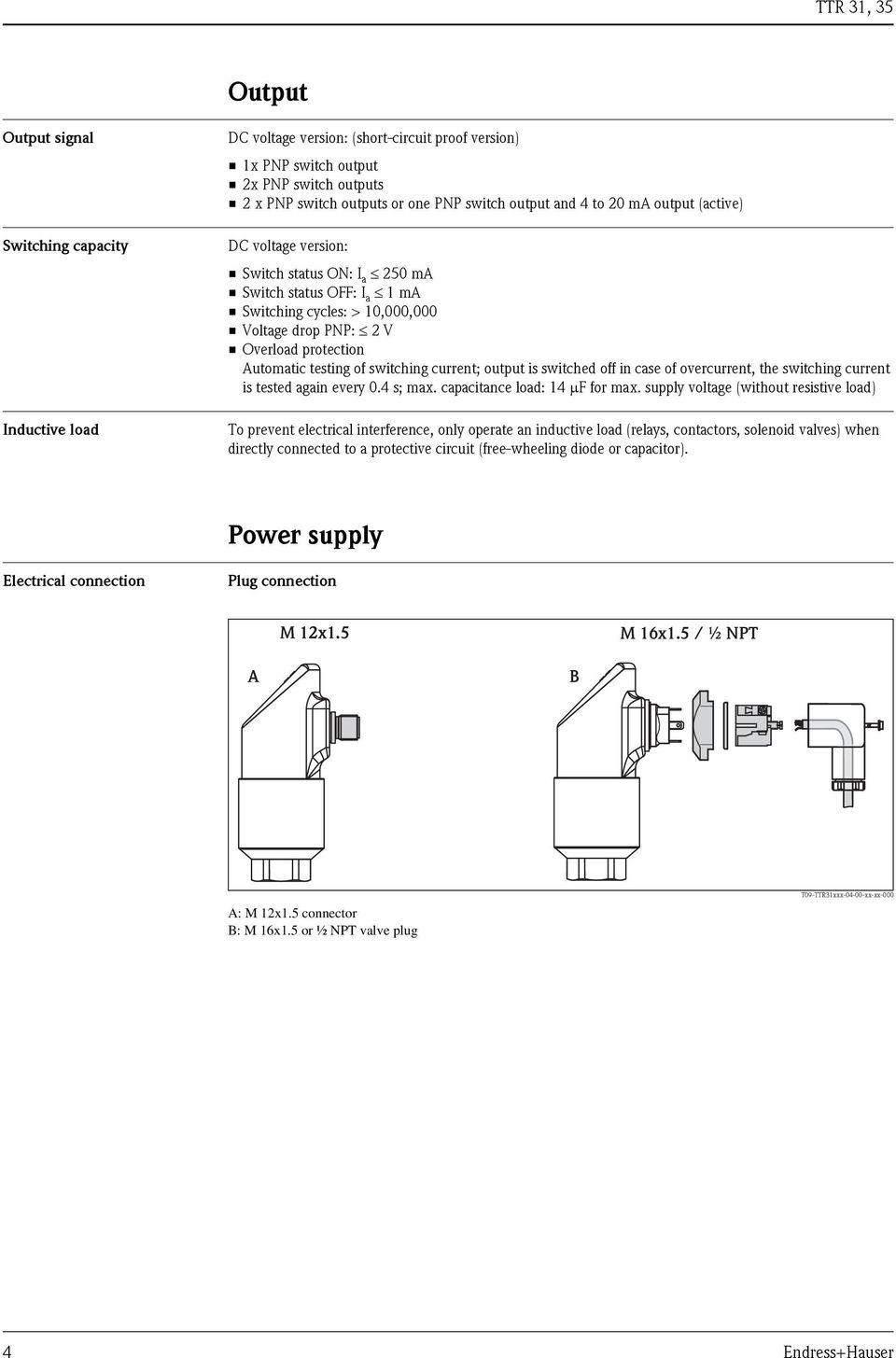 Temperature Switch Thermophant T Ttr 31 35 Pdf Dc Wiring Diagram 4 Prug Switching Current Output Is Switched Off In Case Of Overcurrent The 5 Device Connection