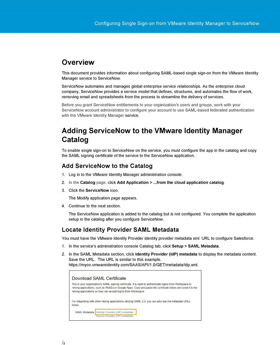 Configuring Single Sign-on from the VMware Identity Manager Service