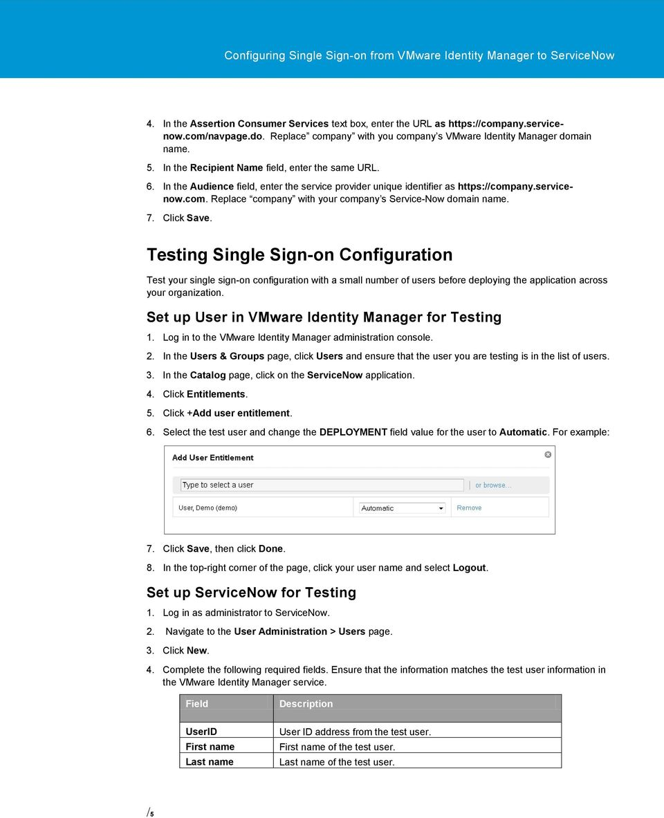 Configuring Single Sign-on from the VMware Identity Manager