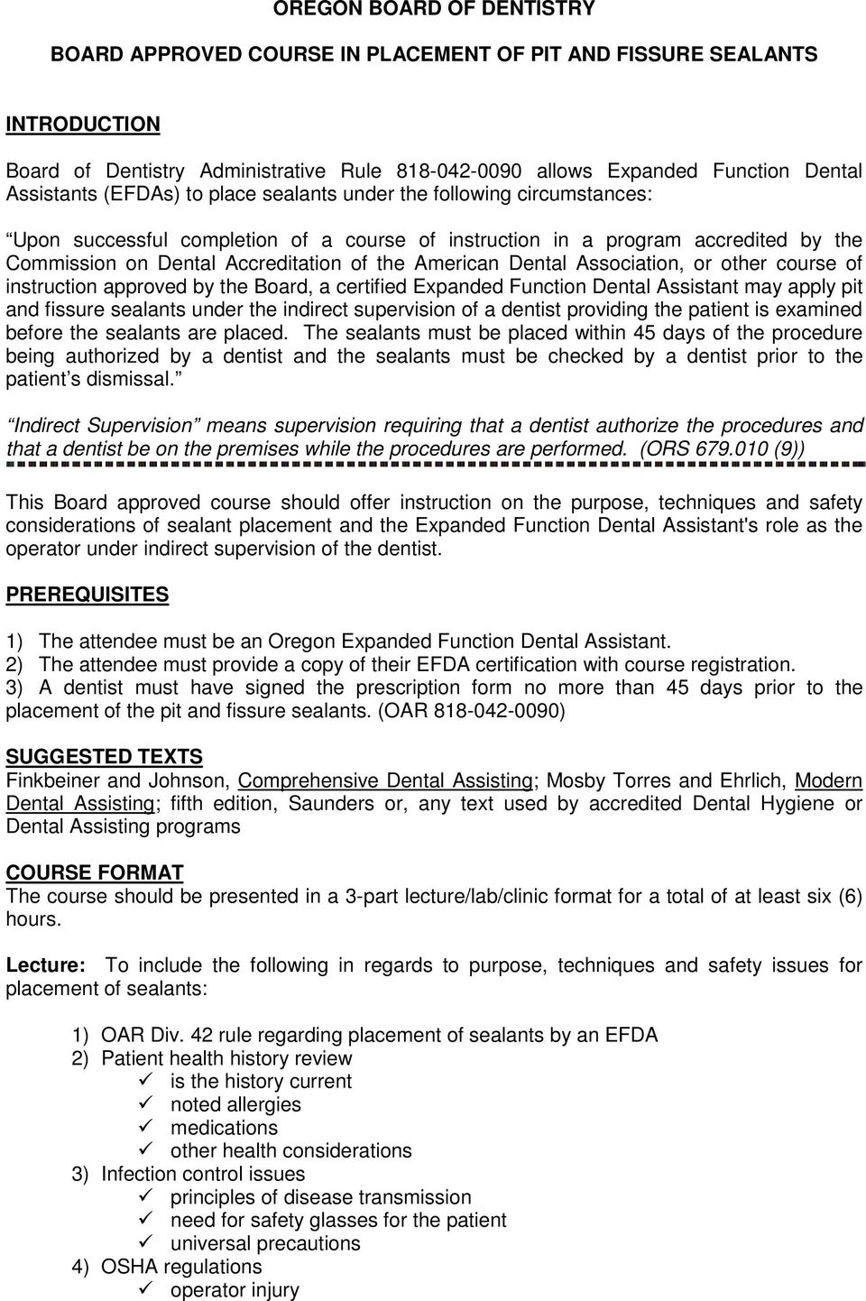 Oregon Board Of Dentistry Board Approved Course In Placement Of Pit