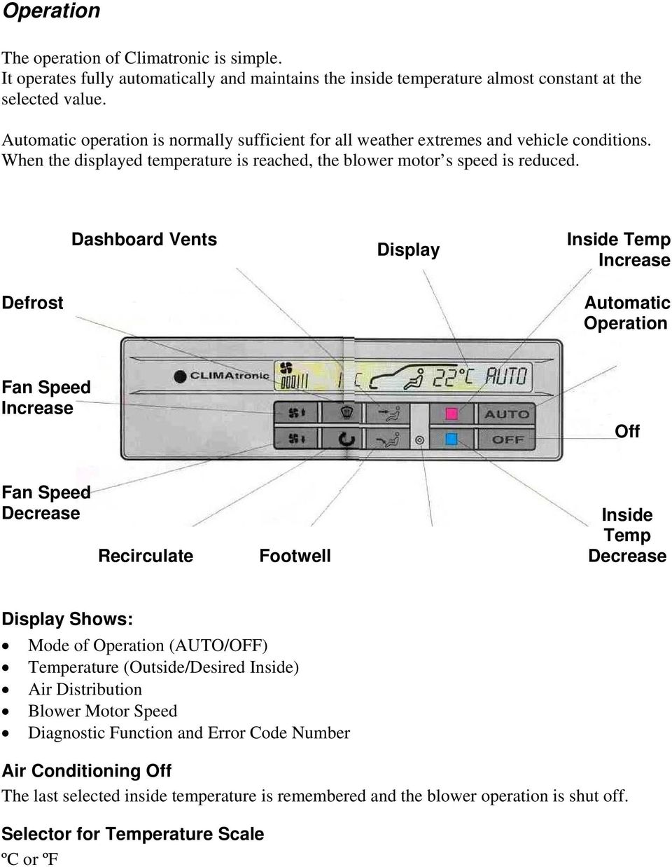 Vag Service Climatronic Use At Your Own Risk This Footwell Light Wiring Diagram 1999 Gmc Sierra Dashboard Vents Display Inside Temp Increase Defrost Automatic Operation Fan Speed Off Decrease