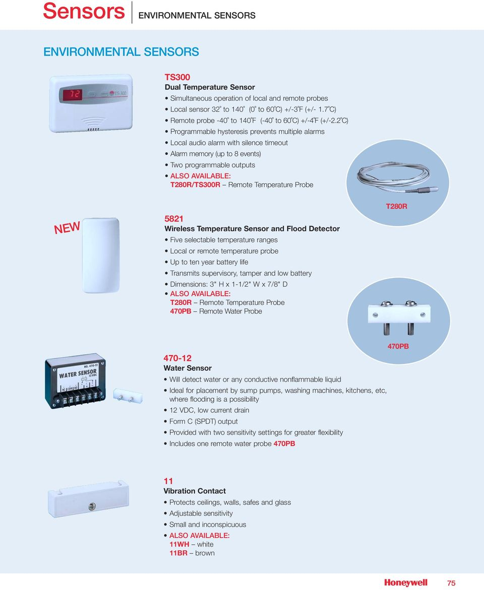 Sensors Honeywell Security Custom Electronics Provides Detector Circuit Vibration Impulse Counter Water Switch Sensor 2 C Programmable Hysteresis Prevents Multiple Alarms Local Audio Alarm With Silence Timeout Memory