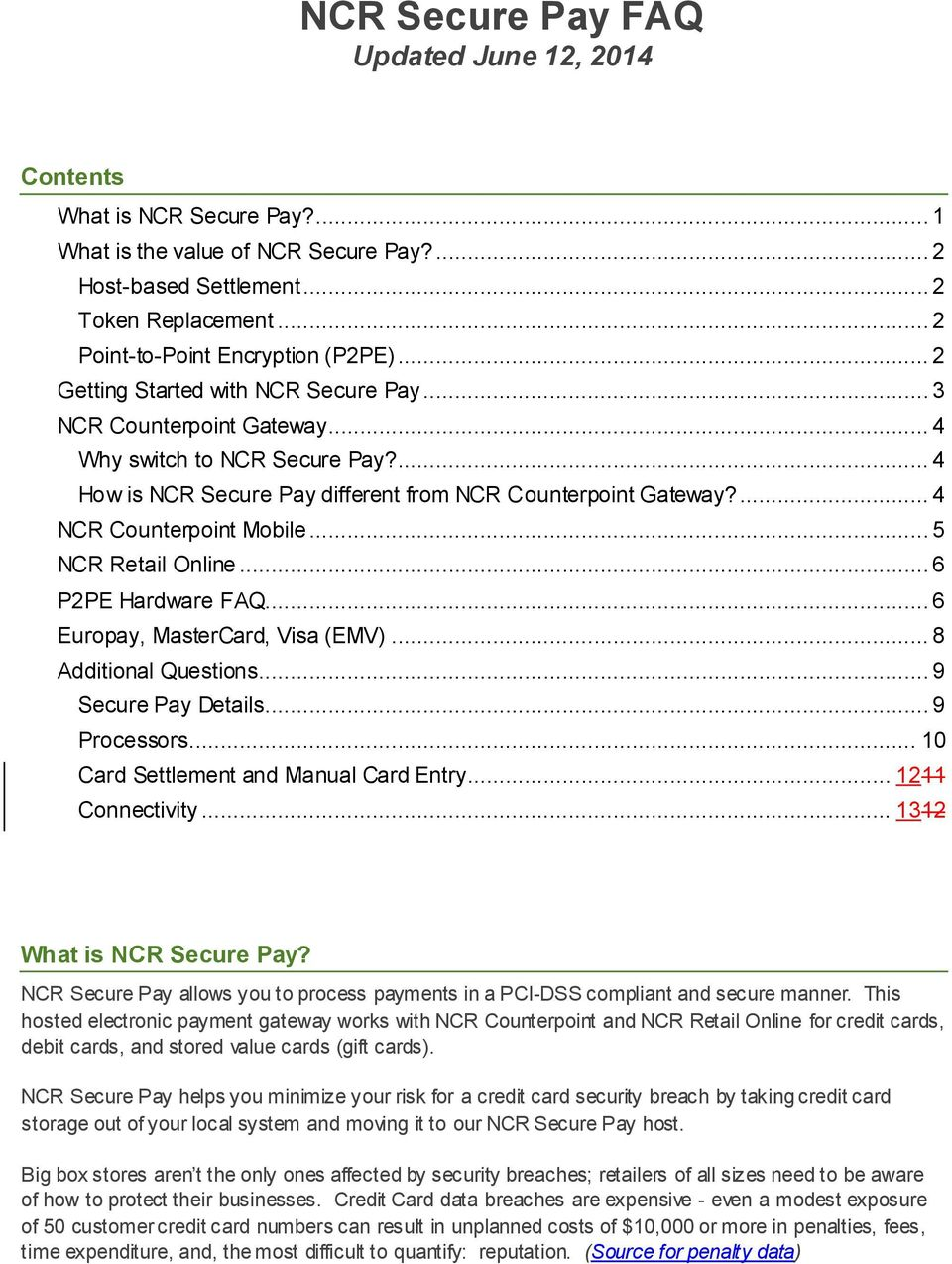 NCR Secure Pay FAQ Updated June 12, PDF