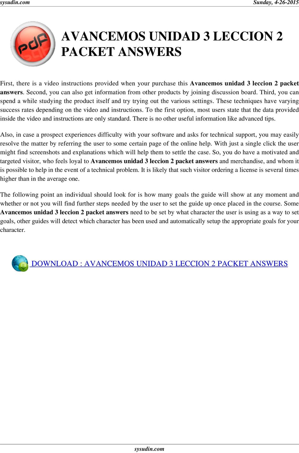 avancemos unidad 3 leccion 2 packet answers : The User's Guide - PDF