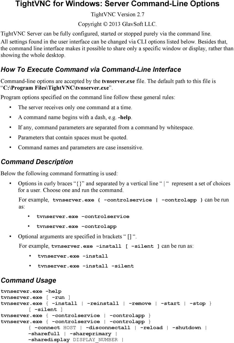 TightVNC for Windows: Server Command-Line Options - PDF