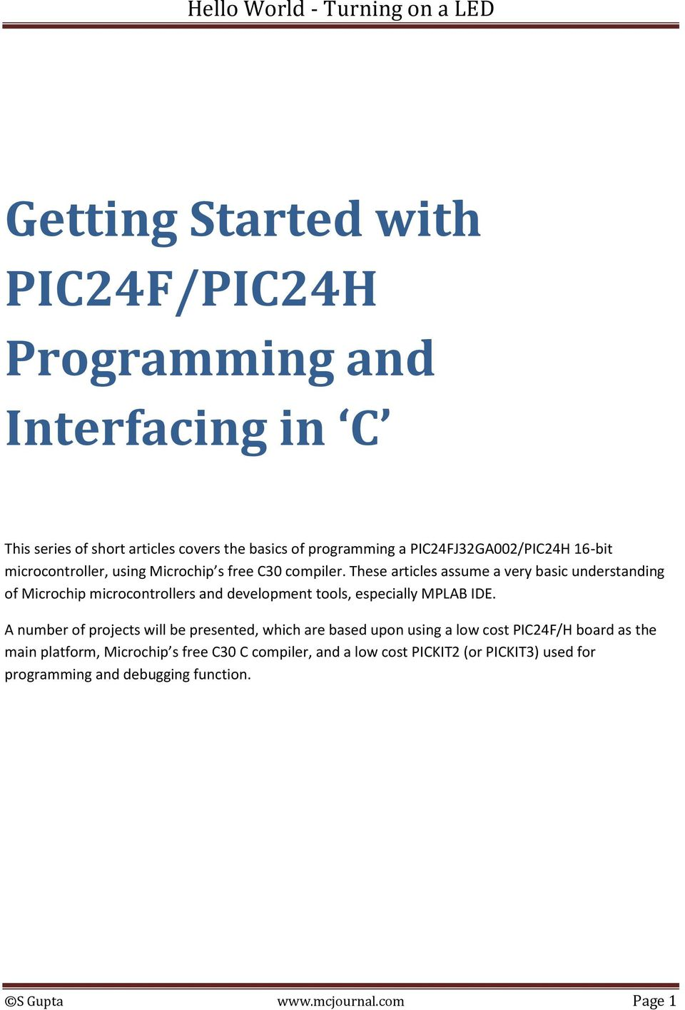 Getting Started with PIC24F/PIC24H Programming and Interfacing in C