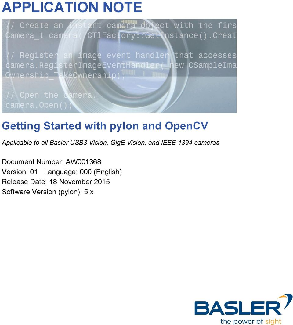 APPLICATION NOTE  Getting Started with pylon and OpenCV - PDF