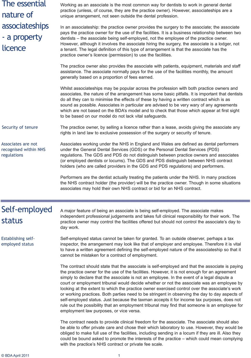 Advicesheet. Associate Contracts A17. - Performer agreements for NHS ...