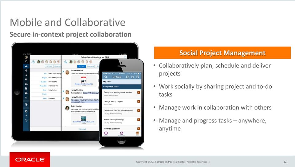 projects Work socially by sharing project and to-do tasks Manage work