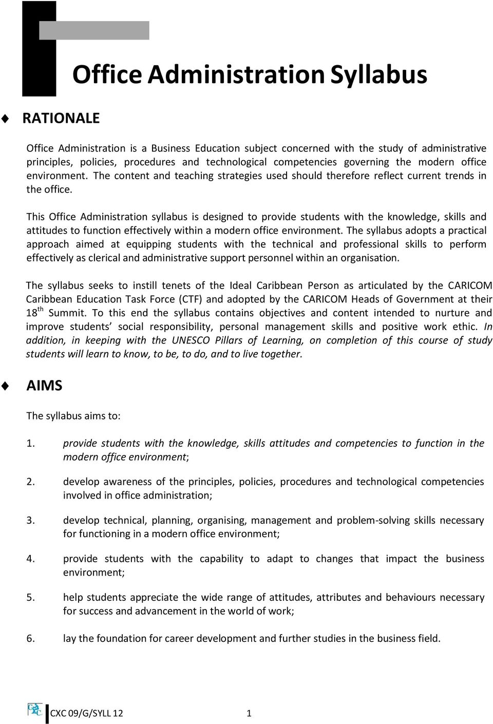 Office administration syllabus pdf this office administration syllabus is designed to provide students with the knowledge skills and attitudes fandeluxe Images