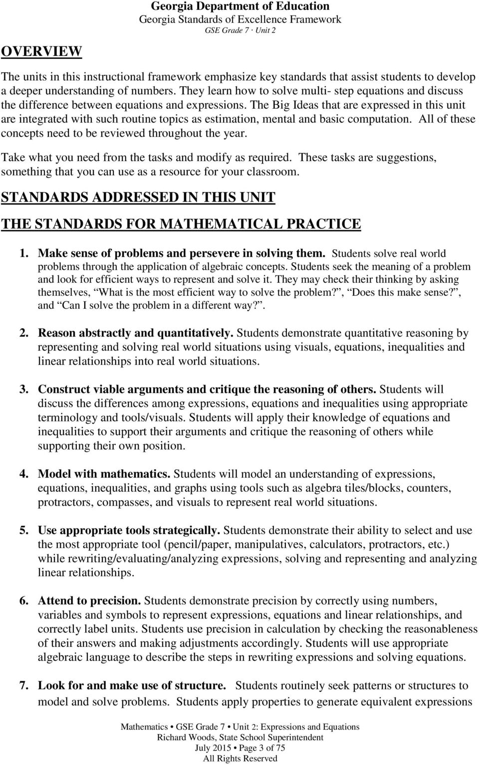 Georgia Standards of Excellence Frameworks  Mathematics  GSE Grade 7