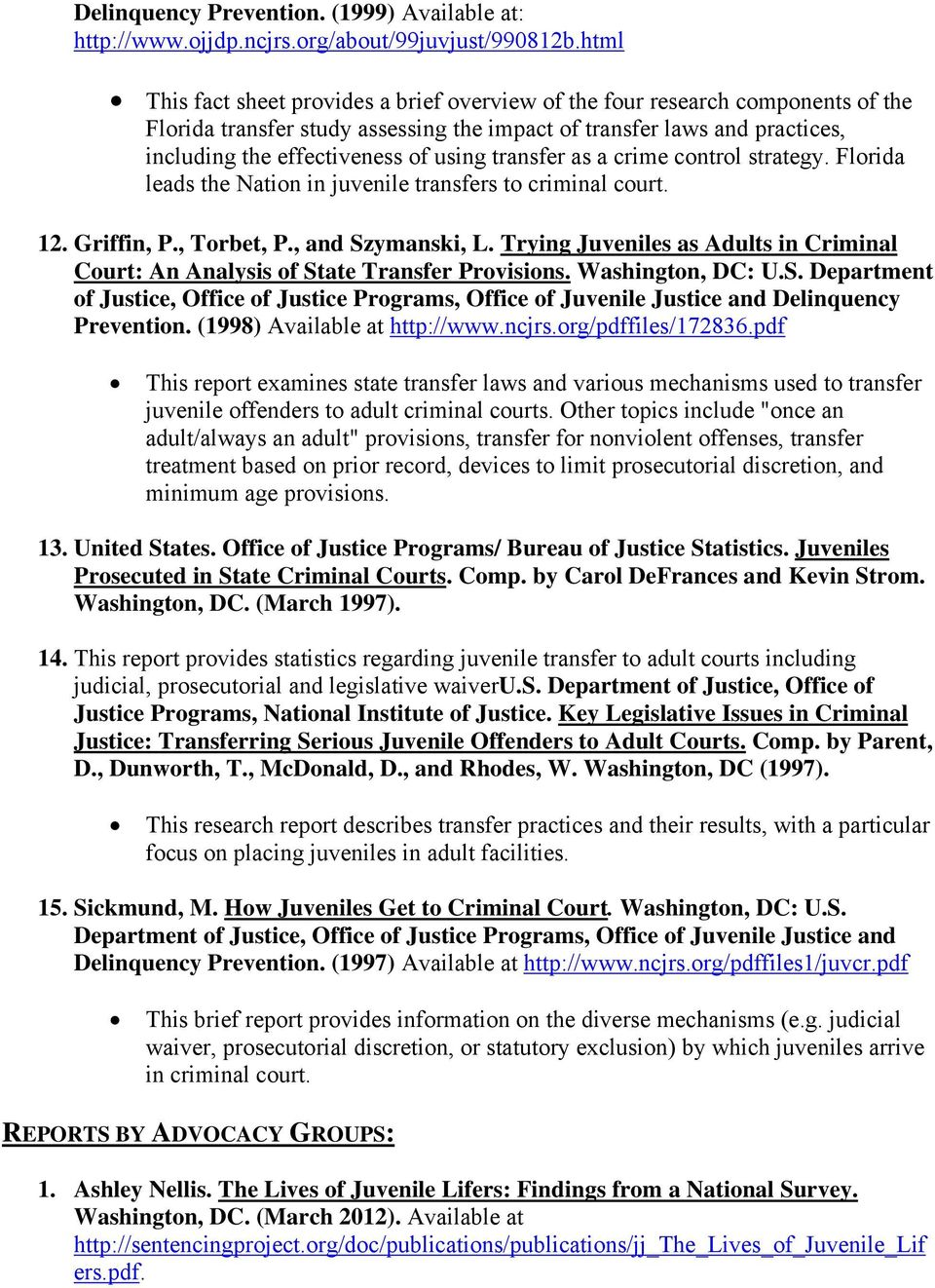 Juvenile delinquency research paper