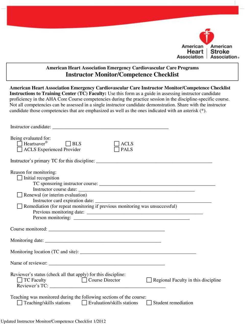 aha instructor renewal packet for current american heart association rh docplayer net