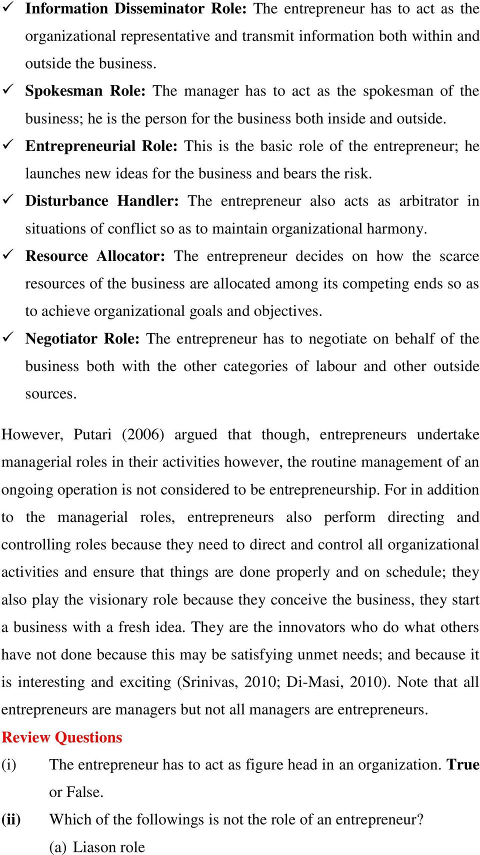 Module one theory and concept of entrepreneurship studies learning entrepreneurial role this is the basic role of the entrepreneur he launches new ideas fandeluxe Images