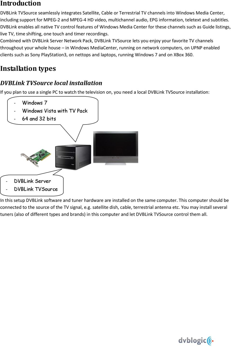 Dvblink Tvsource Installation And Configuration Manual Pdf Wiring A Whole House Computer Network Enables All Native Tv Control Features Of Windows Media Center For These Channels Such As