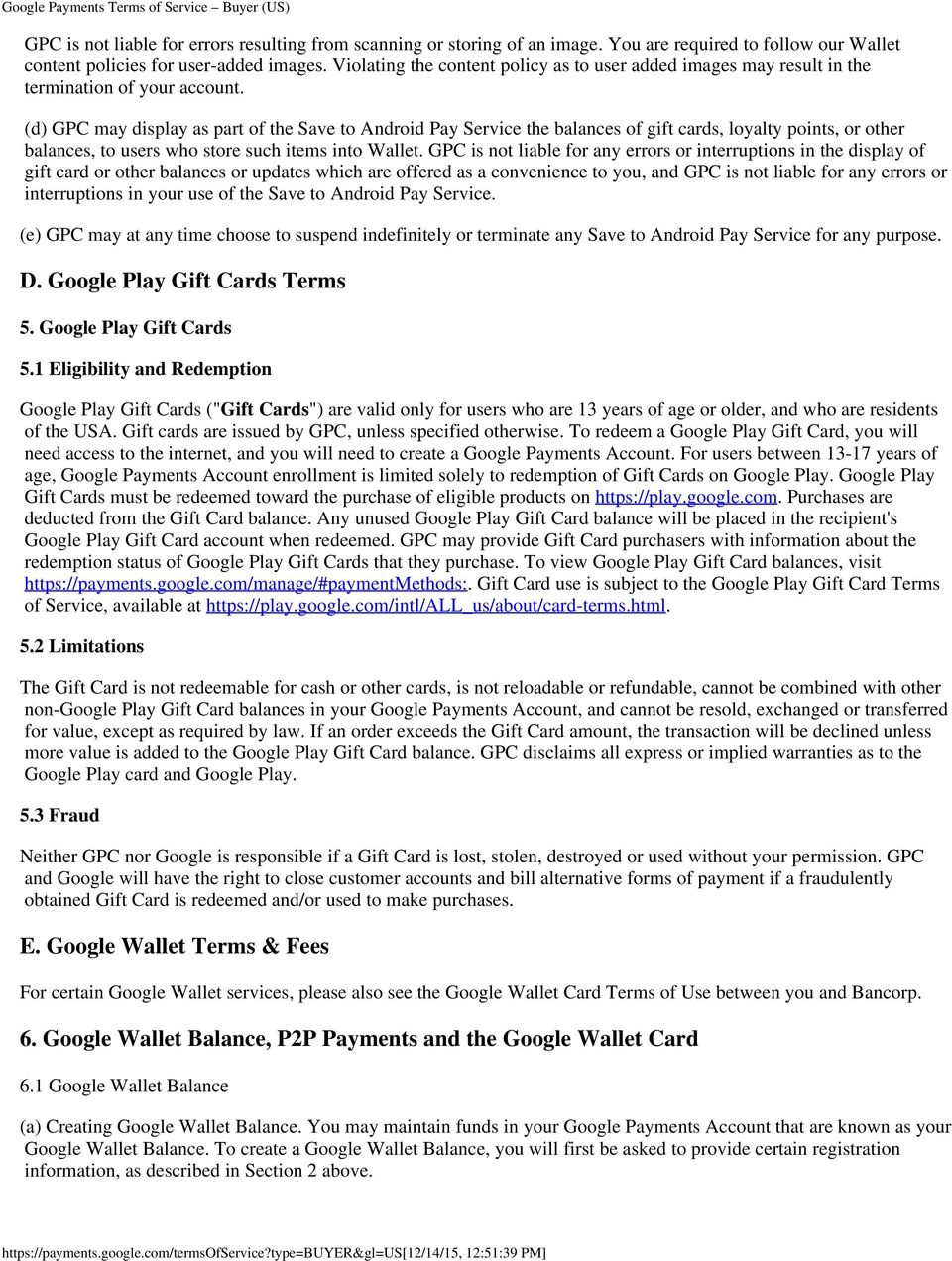 Google Payments Terms of Service Buyer (US) - PDF