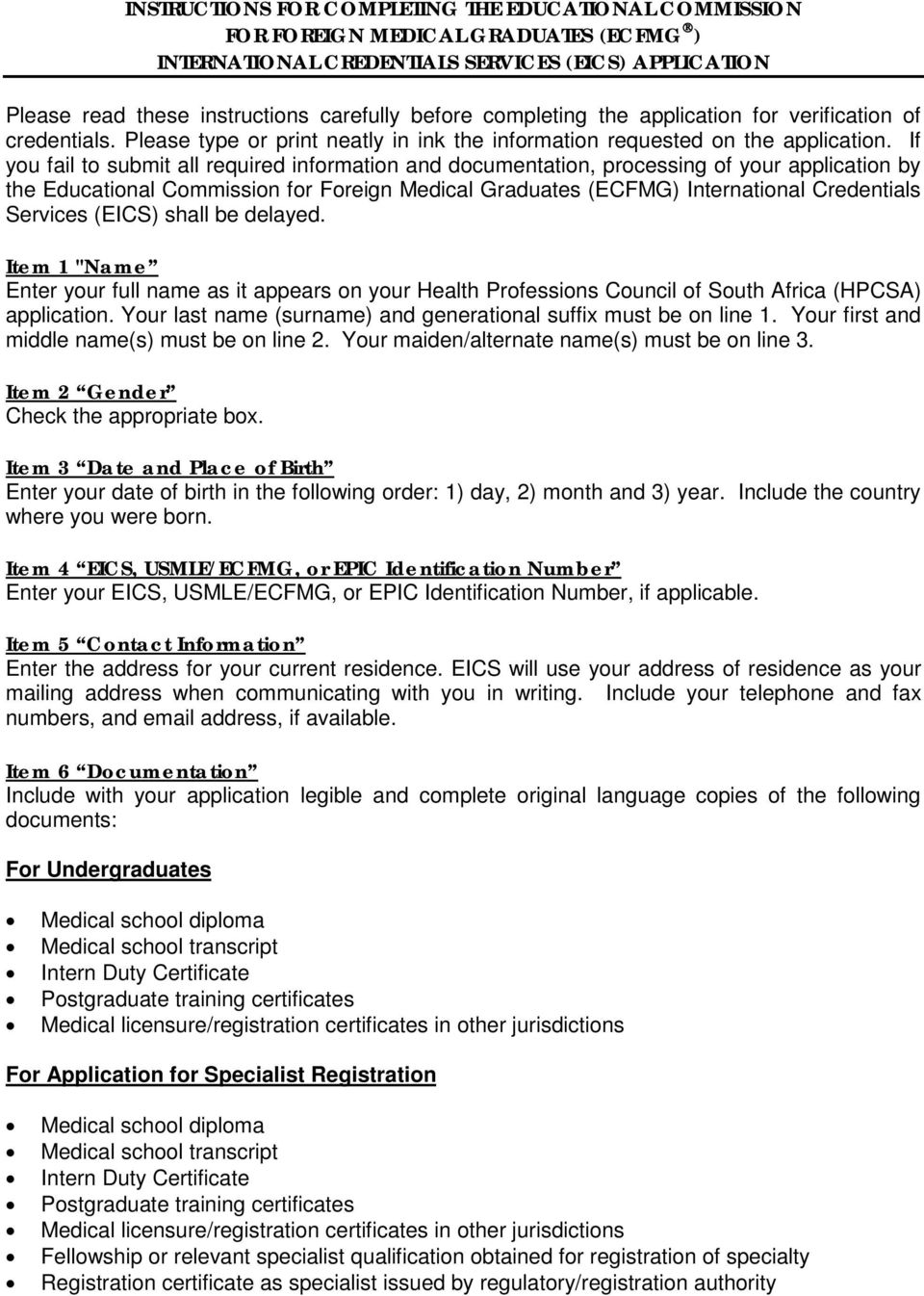 Instructions for Completing the ECFMG International