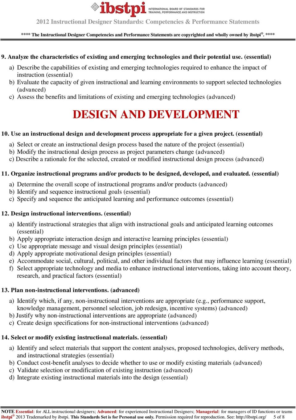 Instructional Designer Standards Competencies Performance Statements Pdf Free Download