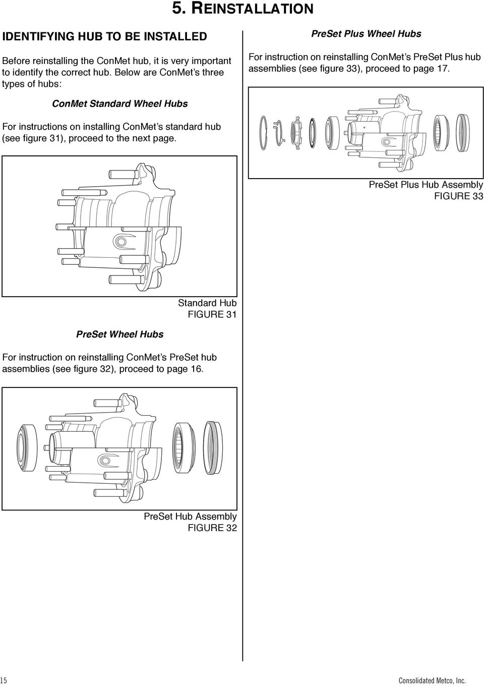 Service Manual For Conmet Hub Rotor Assemblies Heavy Duty Medium Assembly Diagram 36 Standard Wheel Hubs Instructions On Installing Conmets See Figure 31