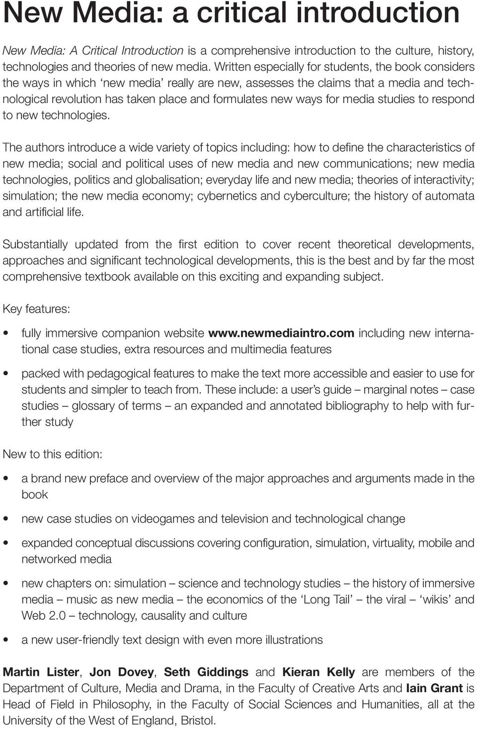 New media a critical introduction pdf for media studies to respond to new technologies fandeluxe Gallery