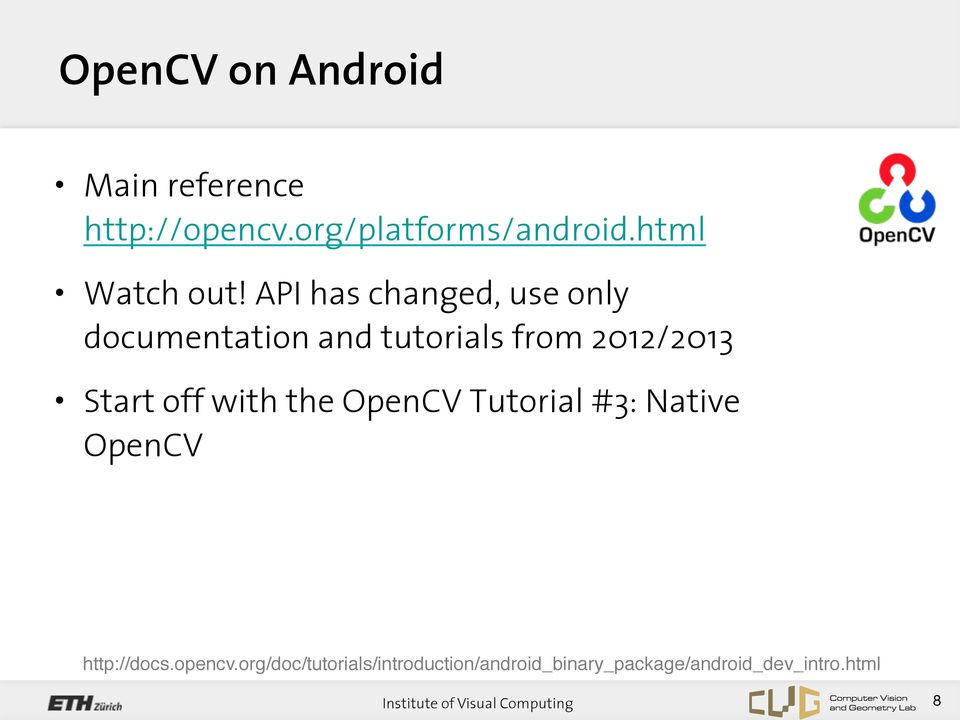 Android and OpenCV Tutorial - PDF