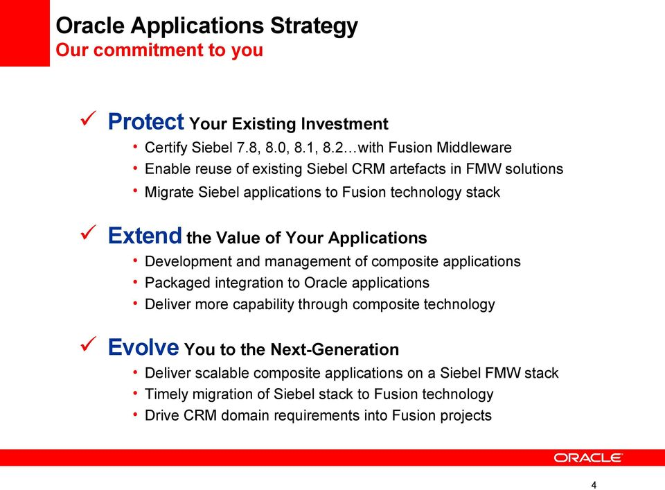Your Applications Development and management of composite applications Packaged integration to Oracle applications Deliver more capability through composite