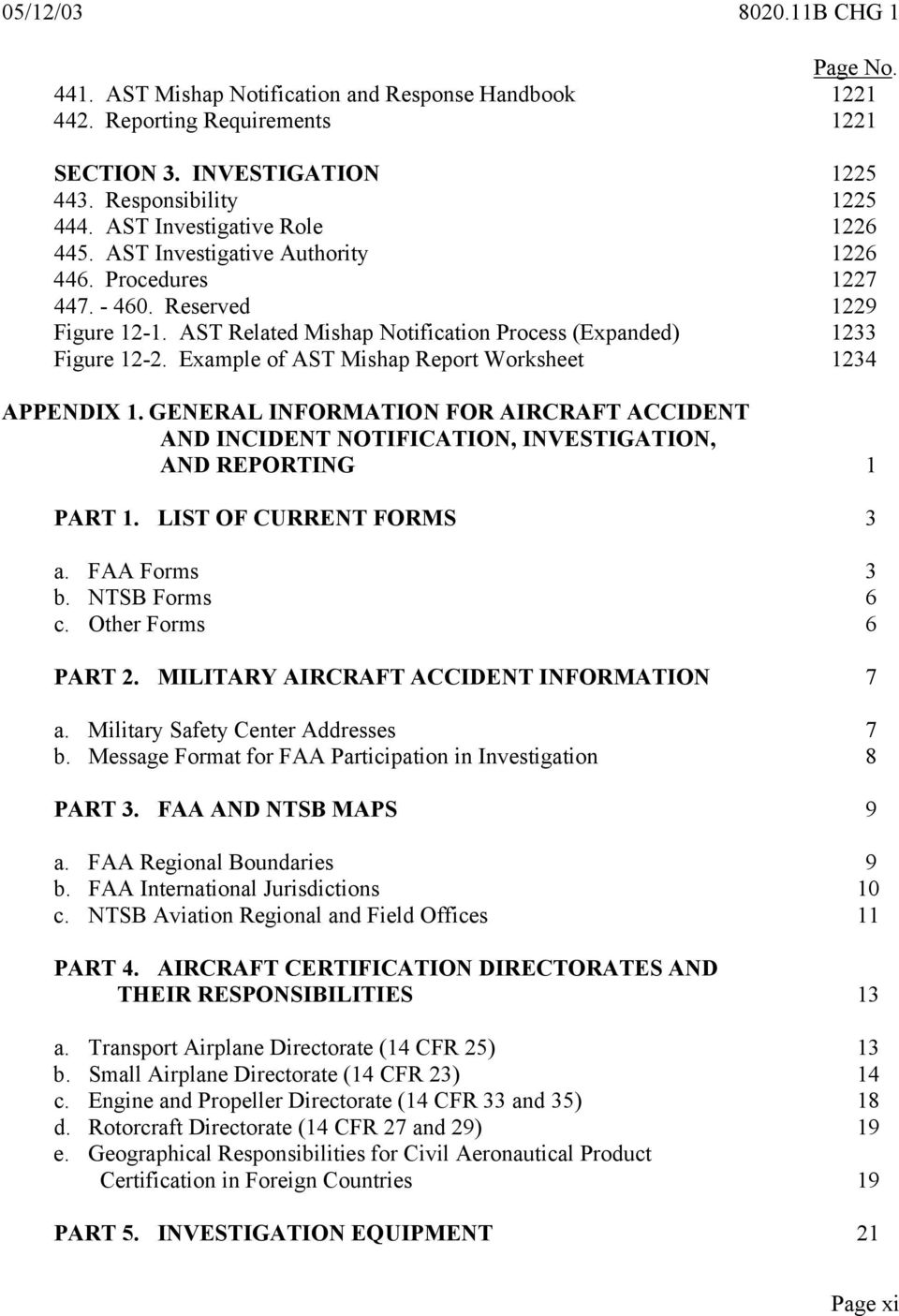 aircraft accident and incident notification  investigation