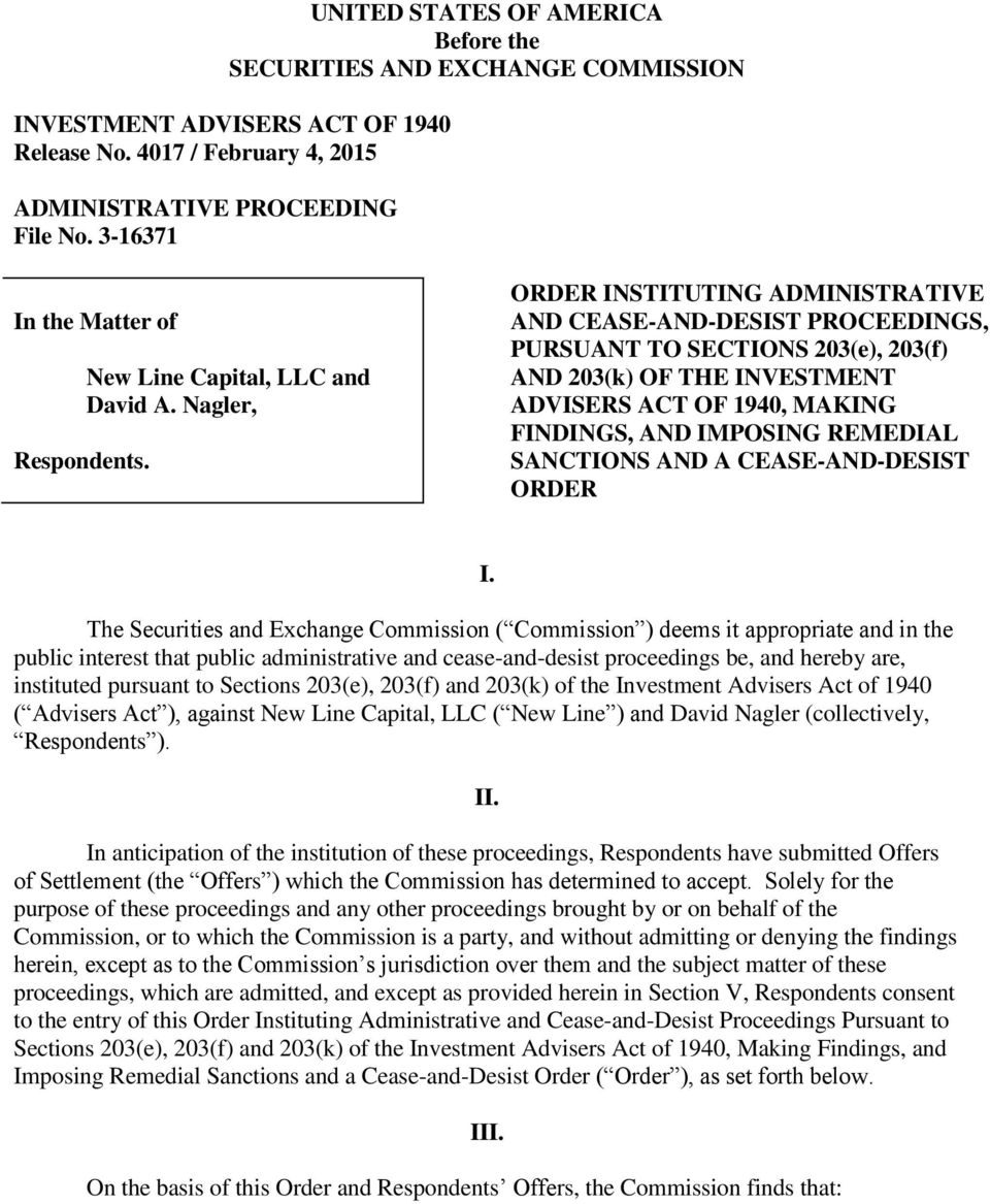 Nagler, ORDER INSTITUTING ADMINISTRATIVE AND CEASE-AND-DESIST PROCEEDINGS, PURSUANT TO SECTIONS 203(e), 203(f) AND 203(k) OF THE INVESTMENT ADVISERS ACT OF 1940, MAKING FINDINGS, AND IMPOSING