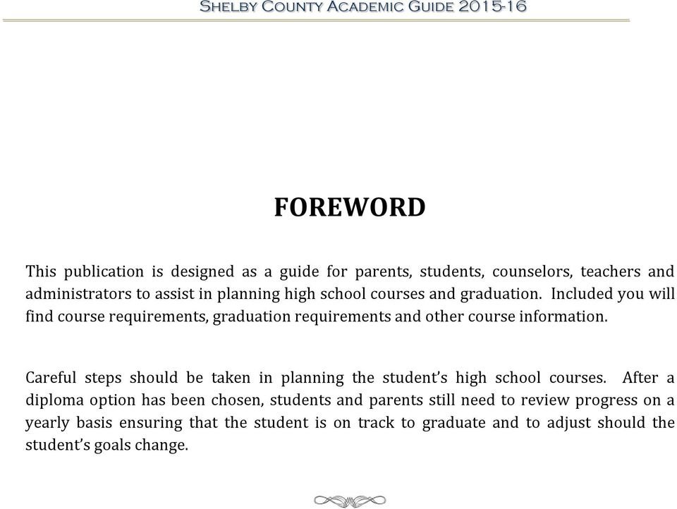 High School Academic Guide Shelby County Schools Updated PDF